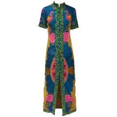1960s Asian Satin Floral Dress