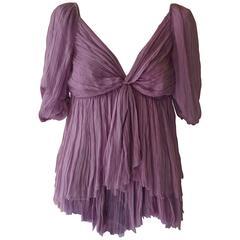 Alberta Ferretti Purple Layered Silk Top