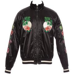 Dolce & Gabbana Men's Black Satin Floral And Dragon Embroidered Souvenir Jacket