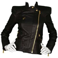 Balmain Black Quilted Leather Biker Jacket sz 36 rt. $4,035