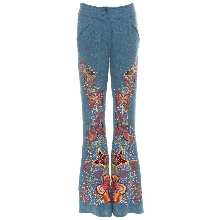 John Galliano For Christian Dior Embroidered Linen Pants, Spring - Summer 2002 For Sale
