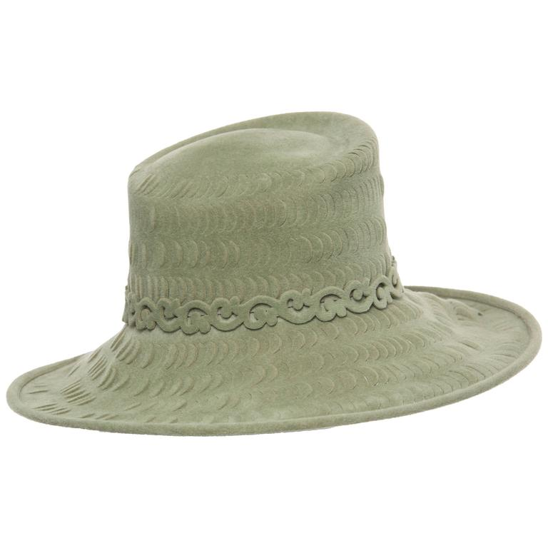 Philip Treacy Sage Green Wool Felt Lasercut Hat