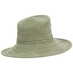 Philip Treacy Sage Green Wool Felt Lasercut Hat