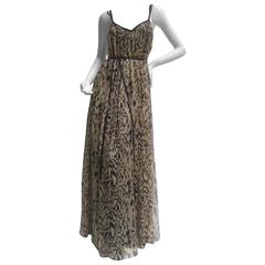 Temperley London Sheer Animal Print Gown.