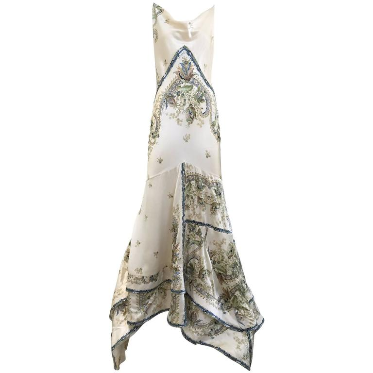 Roberto Cavalli off white silk charmeuse floral print bias cut gown