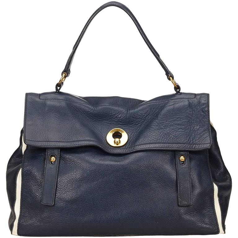 Ysl Navy Leather Muse Two Hand Bag For Sale At 1stdibs
