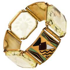 Art Deco Enamel and Rock Crystal Bracelet