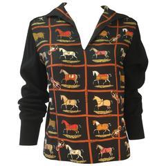 """1970s Hermes """"Couvertures et Tenues de Jour"""" Print Silk & Wool Sweater"""