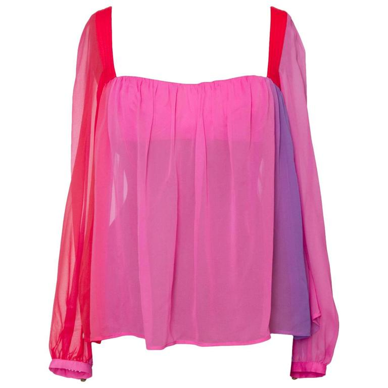 1980s Gianni Versace Couture Ombre Chiffon Blouse 1