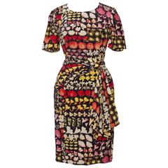 1980s Valentino Botique Fitted Floral Silk Day Dress