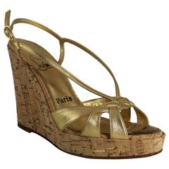 Christian Louboutin Gold Leather Strappy Cork Wedges - 36