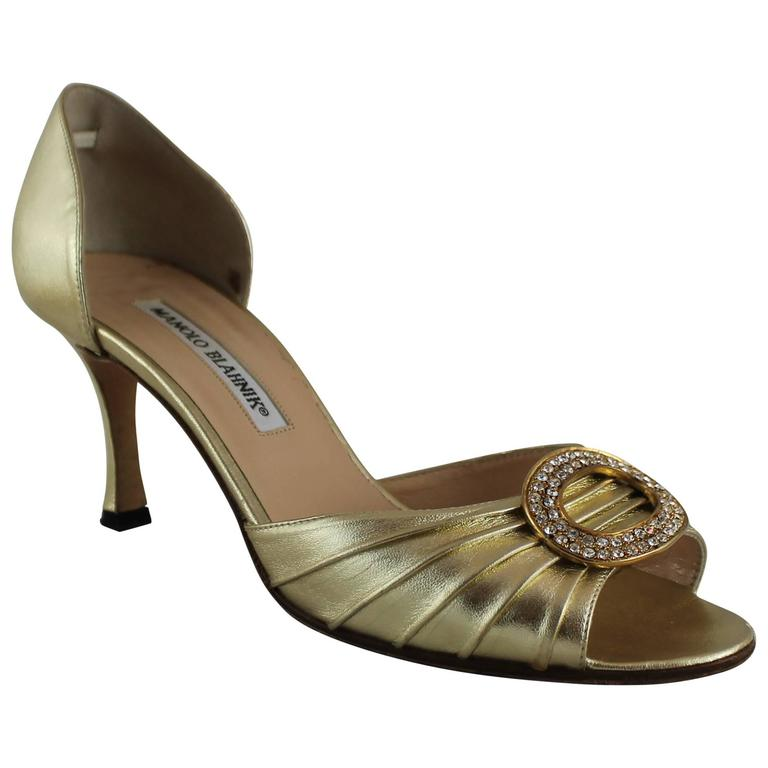 Manolo Blahnik Gold D Orsay Heels With Rhinestone Detail