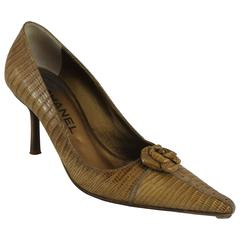 Chanel Light Brown Lizard Skin Heels w/ Camellia and Rhinestone Detail - 36