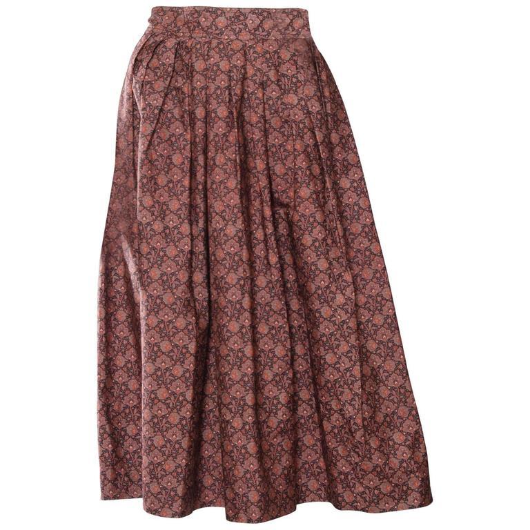 70s Yves Saint Laurent Floral Pleated Skirt For Sale