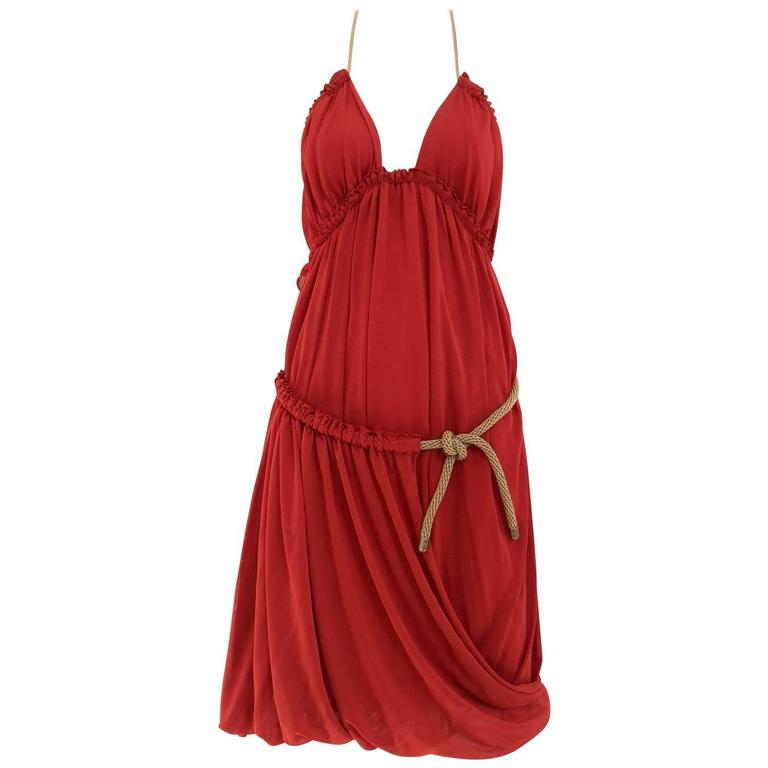 Yves Saint Laurent by Tom Ford red knit dress halter dress