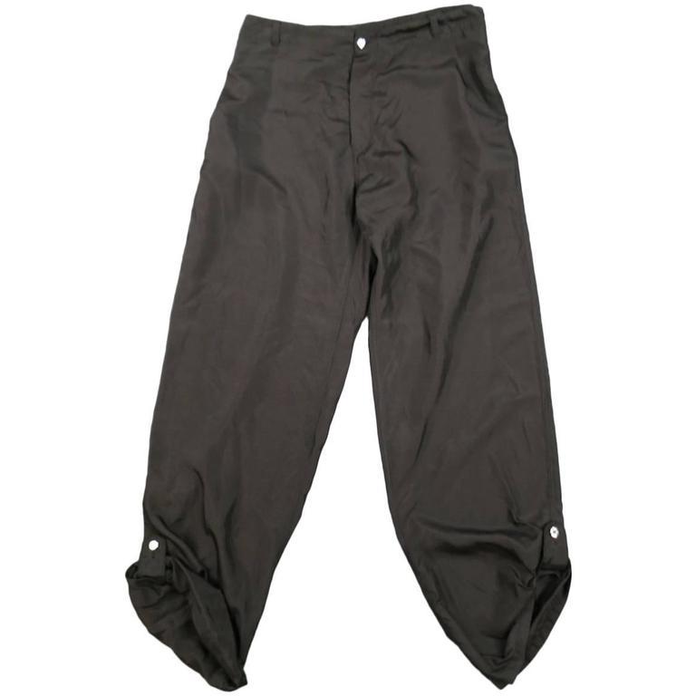 Alexander McQueen Men's Black Silk Tab Hem Back Belt Pants, Size 38