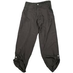 NWT ALEXANDER MCQUEEN Size 38 Men's Black Silk Tab Hem Back Belt Pants