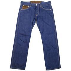JUNYA WATANABE Size M Men's Indigo Denim Brown Suede Panel Pocket Jeans 201
