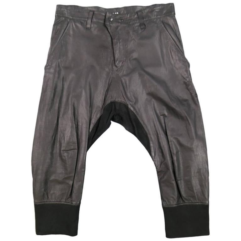 L.G.B Size 33 Men's Black Leather Cropped Drop Crotch Pants For Sale
