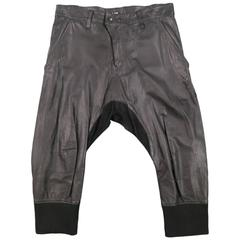 L.G.B Size 33 Men's Black Leather Cropped Drop Crotch Pants