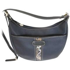 "leonard ""navy blue grained calfskin shoulder bag"
