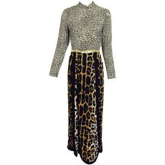 Vintage Martha Palm Beach double leopard print at home maxi dress 1970s