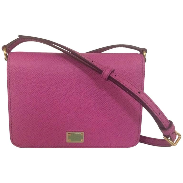 Dolce & Gabbana New with Tags Purple Pink Leather Cross Body Purse Bag