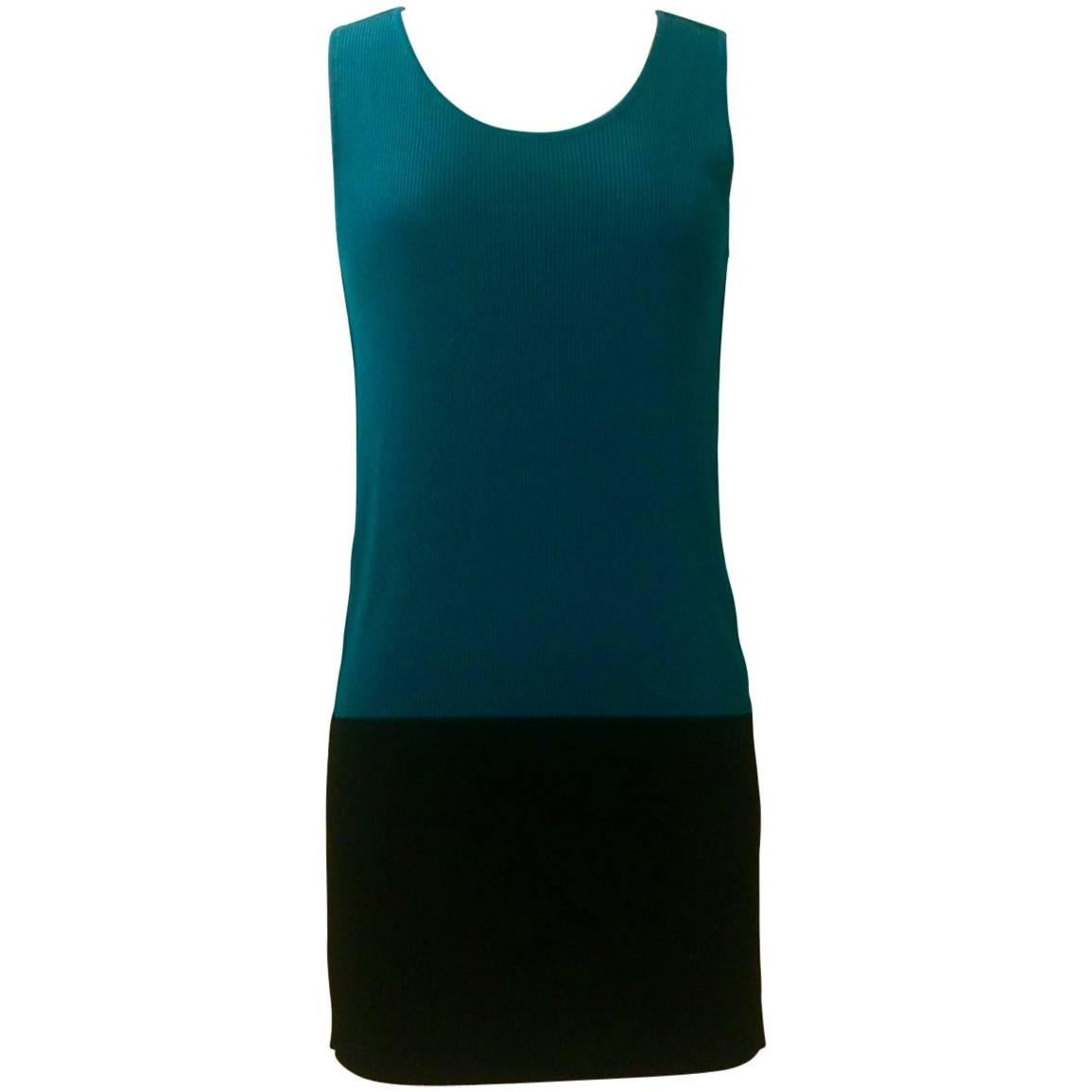 Issey Miyake Minimalist Knit Teal Blue and Black Colorblock Tank dress, 1990s