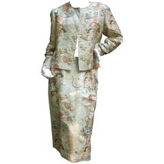 Exotic Japanese Style Gold Brocade Skirt Suit for Saks Fifth Aveneue c 1970