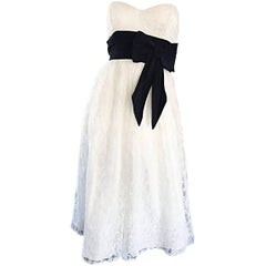 Chic 1990s does 1950s White and Black Lace Strapless Vintage 90s Dress Small