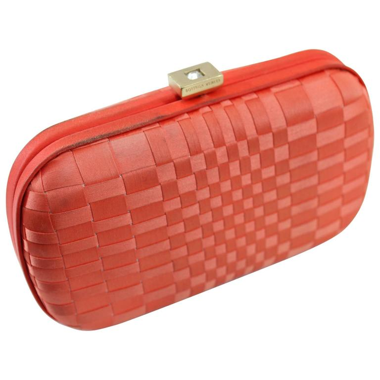 Vintage Corail Bottega Veneta Clutch with Crystal For Sale