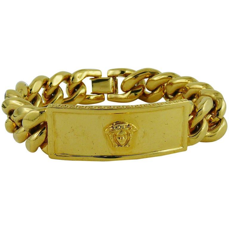 Gianni Versace Vintage Men S Gold Tone Curb Bracelet Medusa For