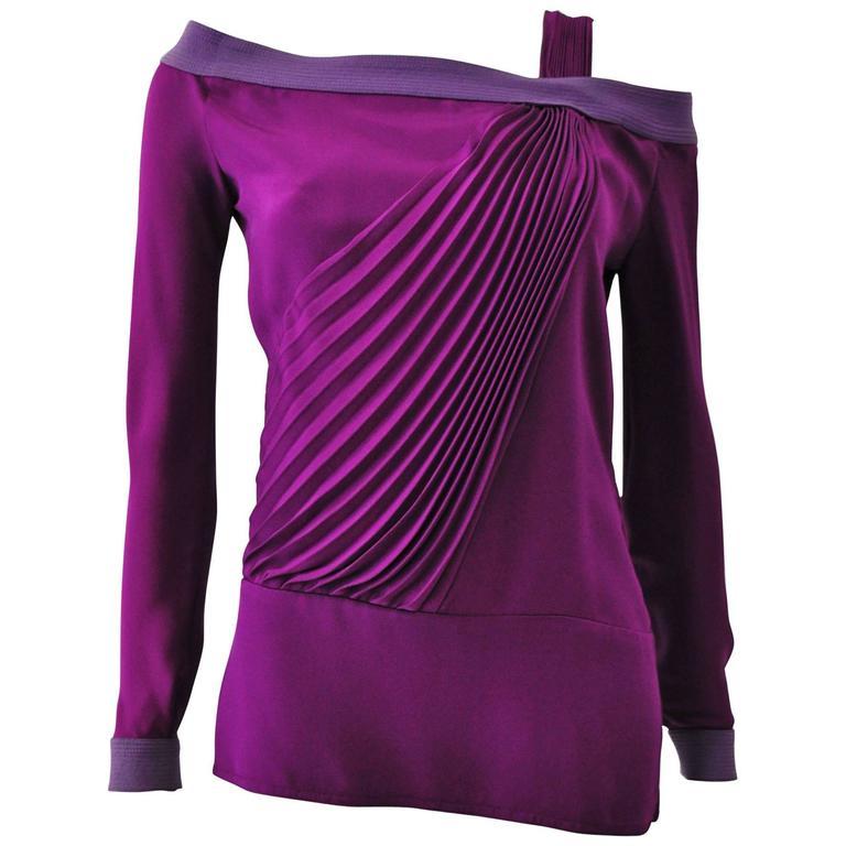 Interesting Gianni Versace Front Pleat Off Shoulder Magenta Silk Shirt