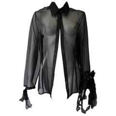 Highly Unusual Gianfranco Ferre Sheer Silk Blouse with Ribbon Bow Sleeve Detail