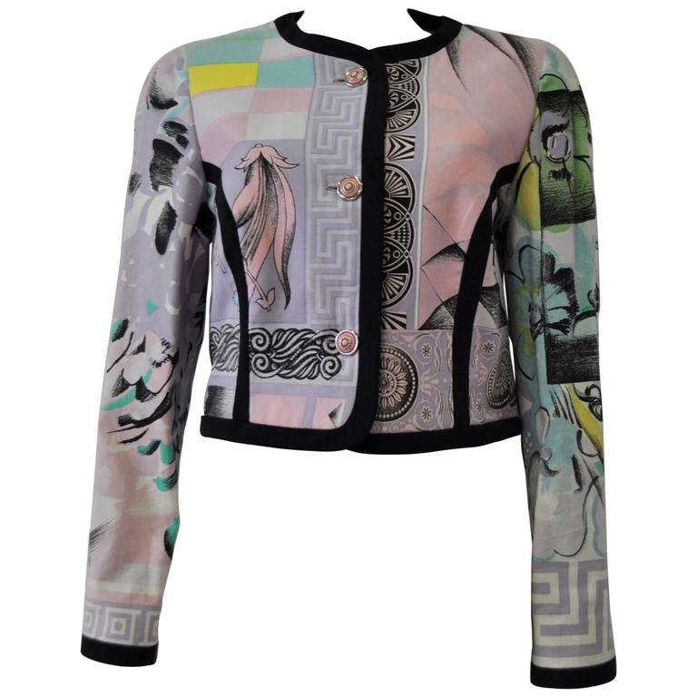 "Iconic Gianni Versace Istante Pastel Meandros ""Greek Key"" Printed Jacket 1"