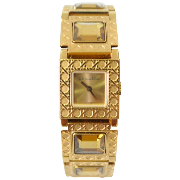 Authentic Christian Dior Jewel Encrusted Gold Tone Link Watch For Sale