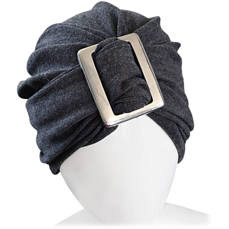 b4fab026606 Vintage Christian Dior for Saks 5th Ave 1960s 60s Grey Wool Turban Silver  Buckle For Sale