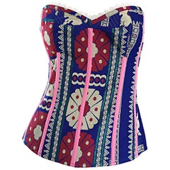 Tracy Feith Indian Inspired Silk & Lace Strapless Bustier Corset Top XS - Small
