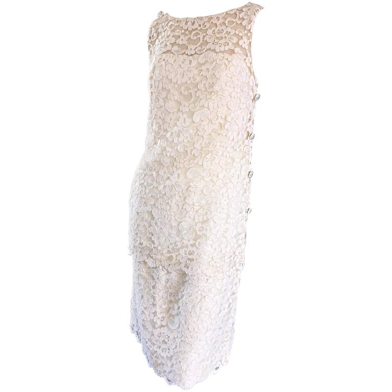 Lisa Howard Vintage White Lace 1960s 60s Rhinestone Buttons Tiered Shift Dress For Sale