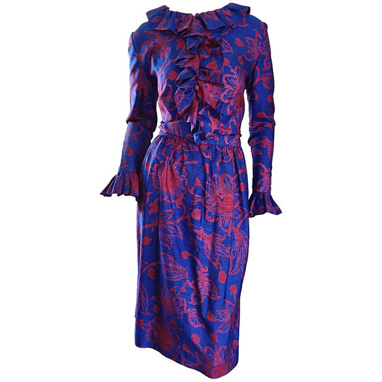 1960s Yen Yen of Malaya Blue & Red Silk Vintage Ruffle 60s Flower Thai Dress For Sale
