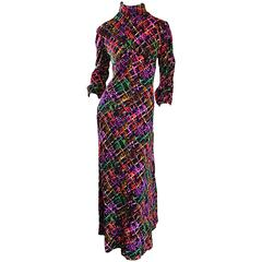 Vintage Rainbow ' Barbed Wire ' 1970s Colorful Boho Long Sleeve 70s Maxi Dress