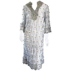 Amazing 1960s 60s Ice Blue Beaded & Rhinestone Demi Couture A - Line Tunic Dress