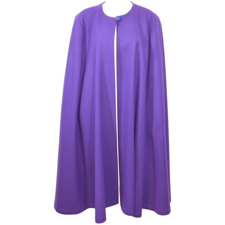 Yves Saint Laurent YSL 1970s Purple Wool Cape