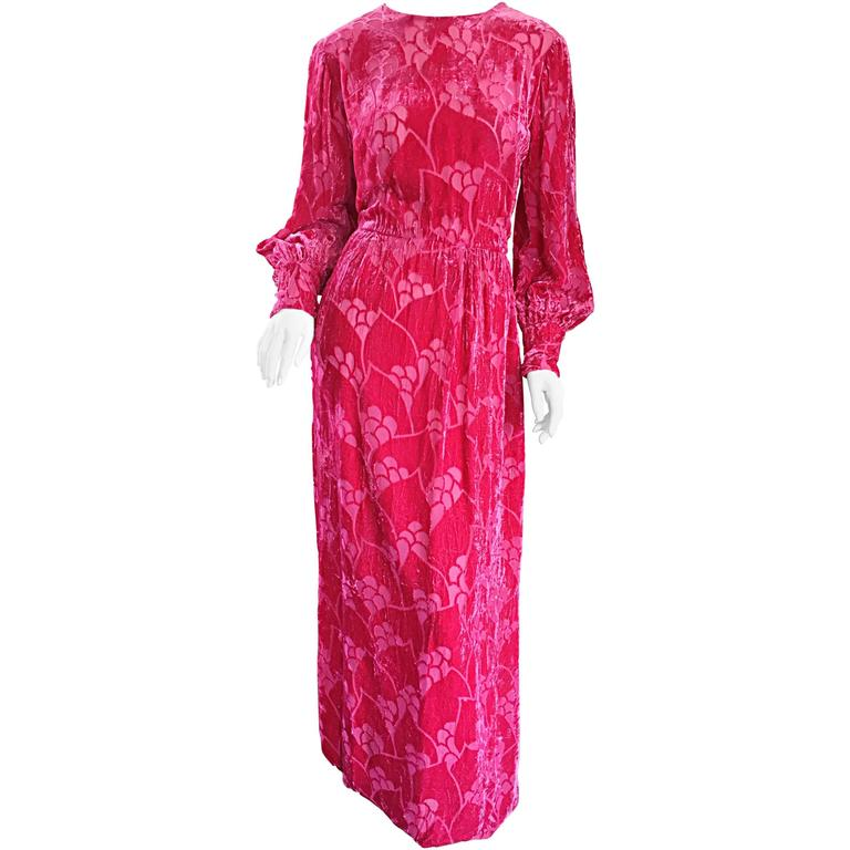 Vintage Elizabeth Arden 1970s Hot Pink Fuchsia Crushed Silk Velvet Maxi Dress 1