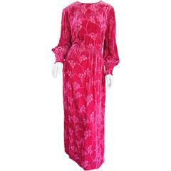 Vintage Elizabeth Arden 1970s Hot Pink Fuchsia Crushed Silk Velvet Maxi Dress