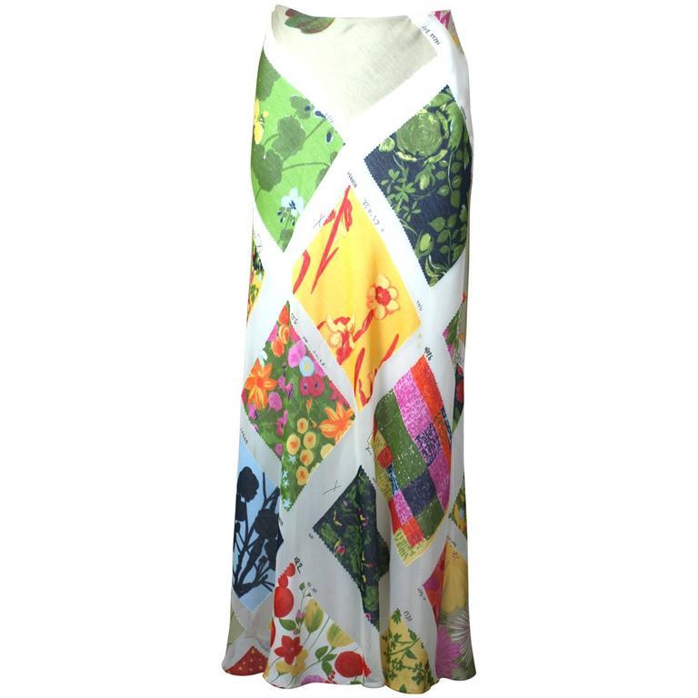 Moschino Printed Chiffon Fabric Swatch Skirt For Sale