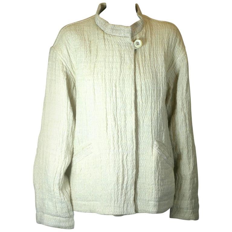 Issey Miyake Jute and Wool Crinkle Jacket