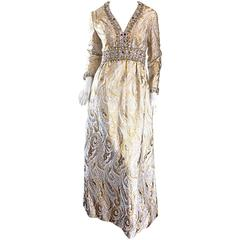 Gorgeous 1960s Vintage British Hong Kong Gold & Silver Silk Beaded Crystal Gown
