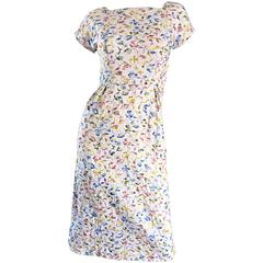 Beautiful Late 1950s 50s White Cotton Embroidered Pastel Flowers Vintage Dress