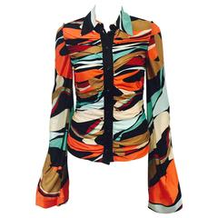 Magnificent Missoni Ruched Abstract Print Viscose Blouse With Bell Sleeves
